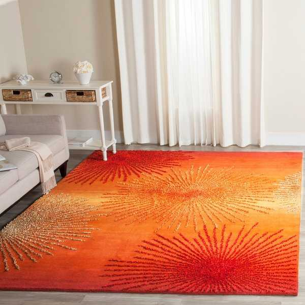 Safavieh Handmade Soho Burst Rust New Zealand Wool Rug - 6' x 9'