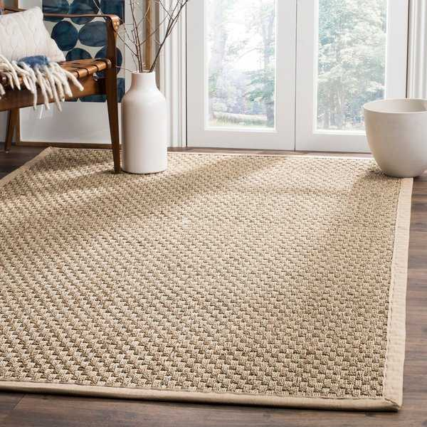 Safavieh Casual Natural Fiber Natural and Beige Border Seagrass Rug - 6' x 9'