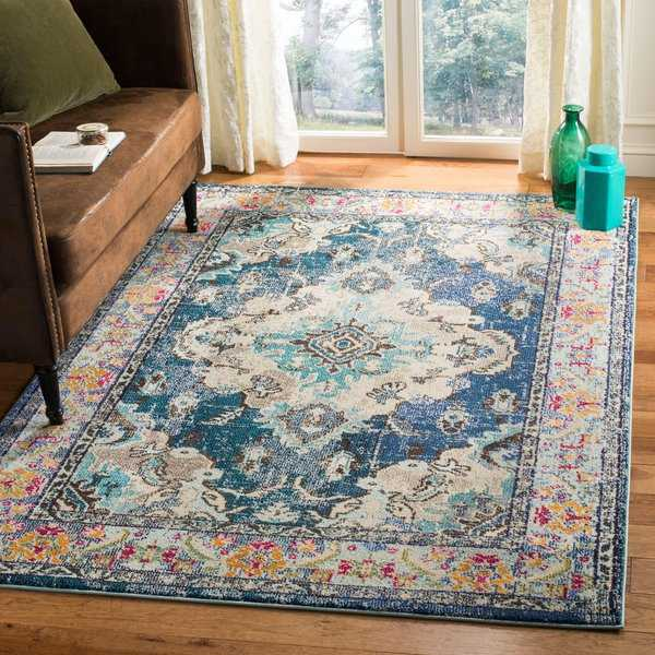 Safavieh Monaco Vintage Boho Medallion Navy / Light Blue Rug - 5'1' x 7'7'