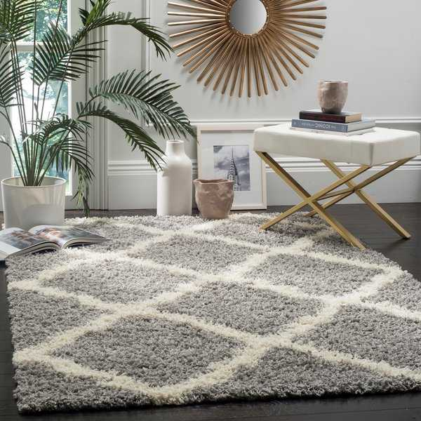 Safavieh Dallas Shag Grey/ Ivory Trellis Large Area Rug - 10' x 14'