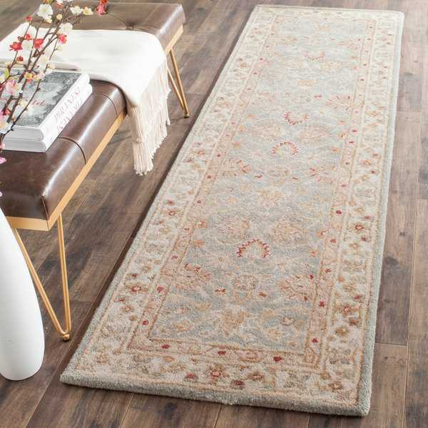 Safavieh Handmade Antiquity Blue-grey/ Beige Wool Rug - 2'3' x 6'