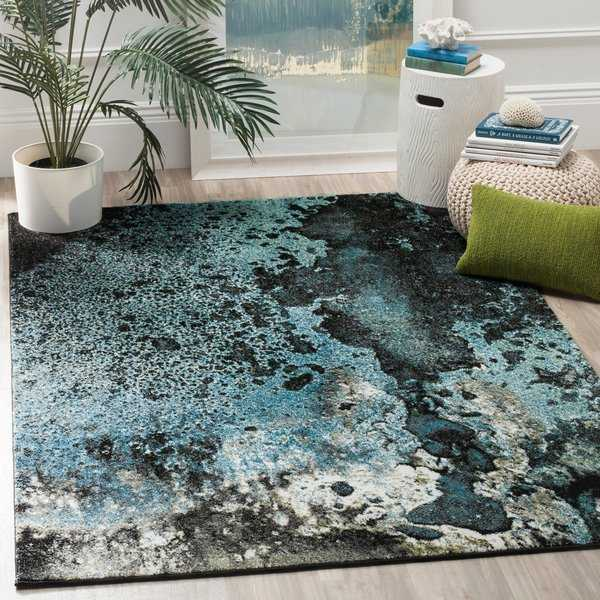 Safavieh Glacier Abstract Watercolor Blue/ Multi Area Rug - 5'3' x 7'6'